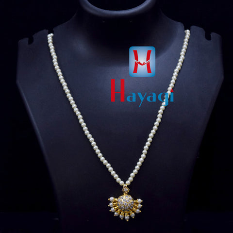 Pearl Mala With Round Pendant In White Stones  Online_Hayagi(Pune)