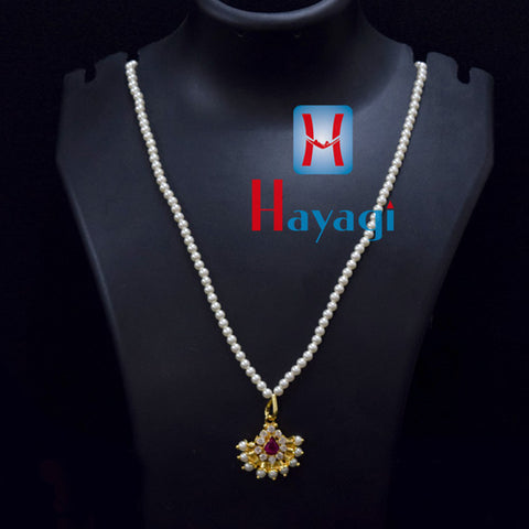 Pearl Mala With Tilak Pendant In White, Pink Stones  Online_Hayagi(Pune)