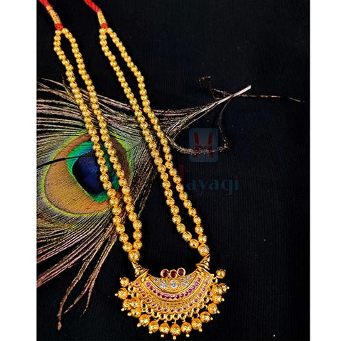 Maharashtrian Thushi Golden-Geru Finish Beaded Mala _Hayagi(Pune)