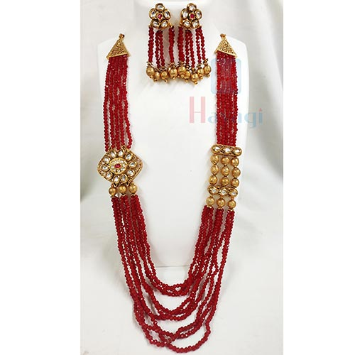 Dark Maroon Crystal With Antique Side Pendant-Hayagi(Pune)