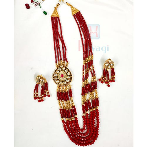 Maroon Crystal With Golden Beads Necklace Buy Online-Hayagi(Pune)