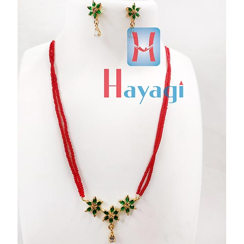 Red Beads Mala Green Stone Pendant Kemp Set  - Hayagi Pune