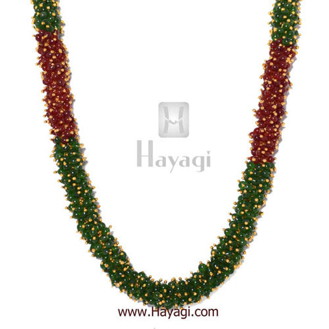 Chandni Necklace Maroon Green Pearls Woven Mala Set Online-Hayagi - Beeline  - 3