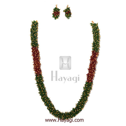 Chandni Necklace Maroon Green Pearls Woven Mala Set Online-Hayagi - Beeline  - 1