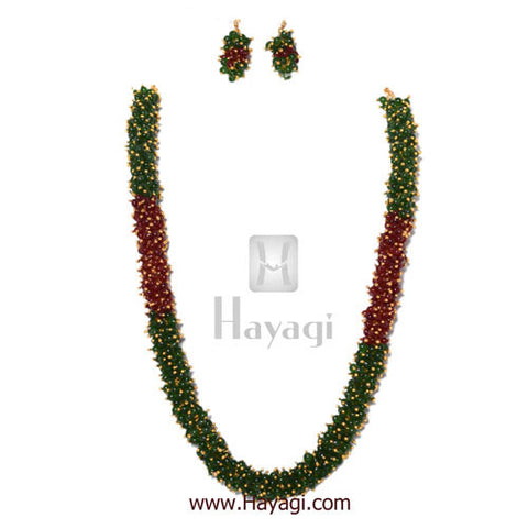 Chandni Necklace Maroon Green Pearls Woven Mala Set Online-Hayagi