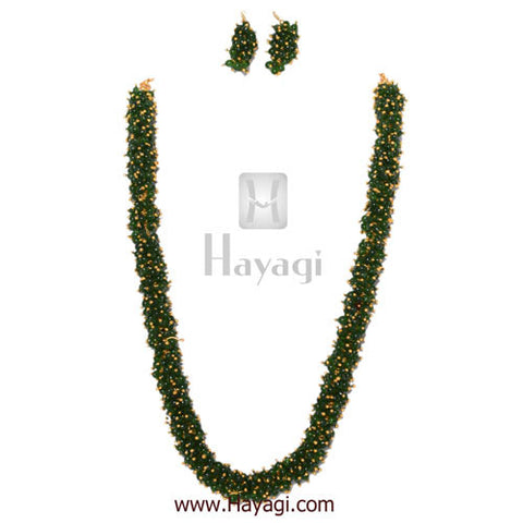 Chandni Necklace Green Pearls Woven Mala Set Online - Hayagi