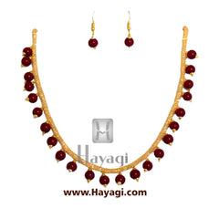 Golden Pearl Red Bead Mala Set - Hayagi
