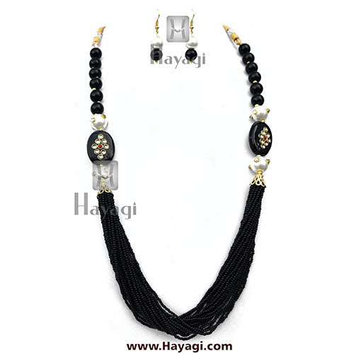 Pearl Black Beads Fashionable Mala - Hayagi