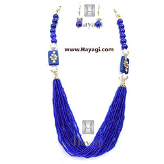 Beads Pearl Royal Blue Fashionable Mala