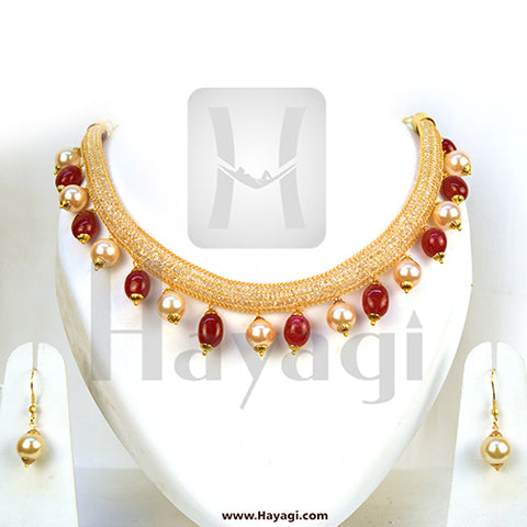 Pearl Necklace Golden White Red Pearl Bead Mala Set - Hayagi