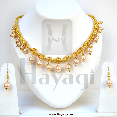 Pearl Necklace Golden White Pearl Bead Mala Set Online_Hayagi