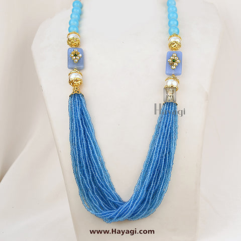 Pearl Beads Fashionable Mala In Sky Blue Colour Buy Online- Hayagi