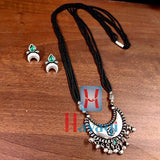 Long Mangalsutra Chand Pendant Oxidized Design -Hayagi(Pune)