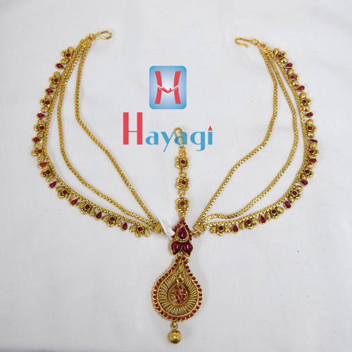 Matha Patti Red Petal Design Online Hayagi_(Pune)