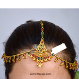 Matha Patti Tikka Head Chain Kundan Hair Jewellery Online-Hayag