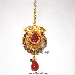 Maang Tikka/Bindi Green Pink Beautiful Design Gold Finish Buy Online - Hayagi