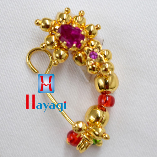 Golden Nath Pink Pearl (Non Pierced)Traditional Online_Hayagi