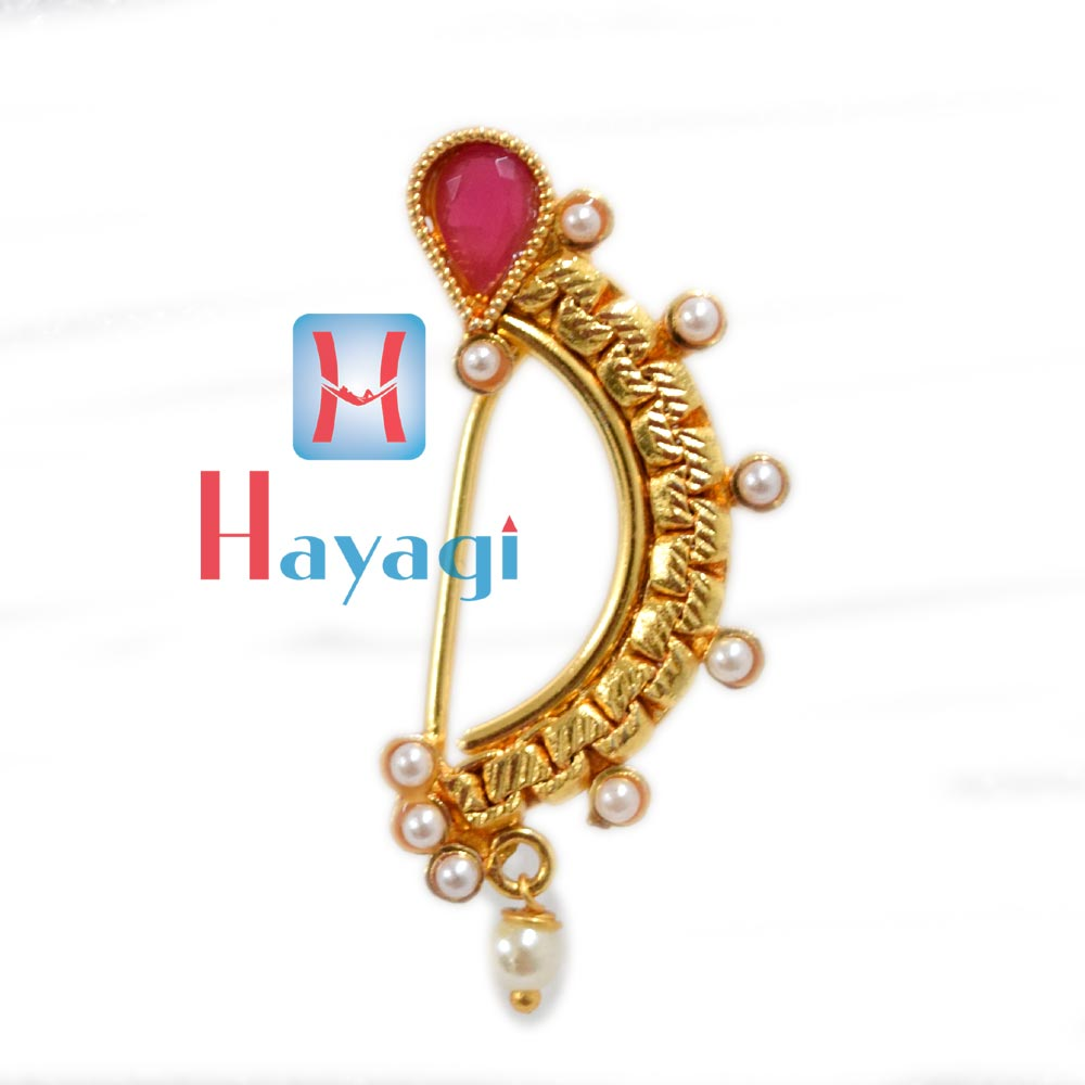 Nath, Golden (Non Pierced),Pearl Ruby Stone Nose Ring_Hayagi(Pune)