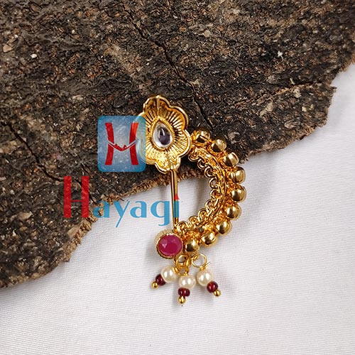 Nath Golden Finish White Petal Stone Buy Online _Hayagi(Pune)