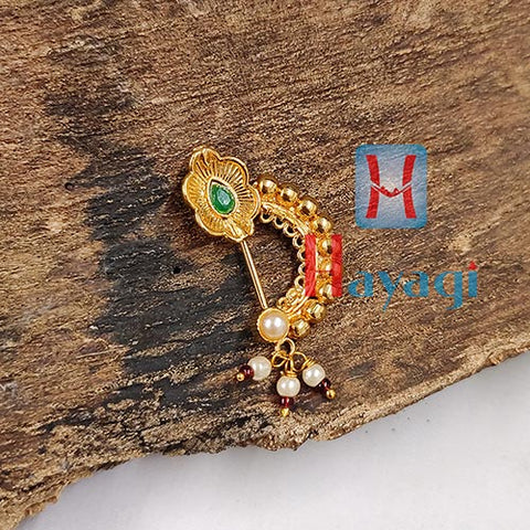 Nath Golden Finish Green Petal Stone Buy Online _Hayagi(Pune)