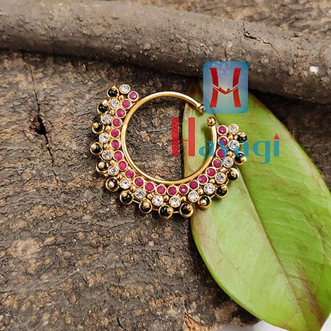 Rajasthani Maroon & White Studed Nose Ring (Non Pierced)_Hayagi