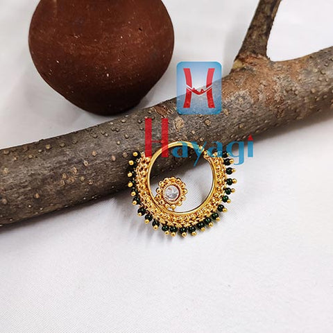 Rajasthani Gold Finish Green Stones Nose Ring (Non Pierced)_Hayagi