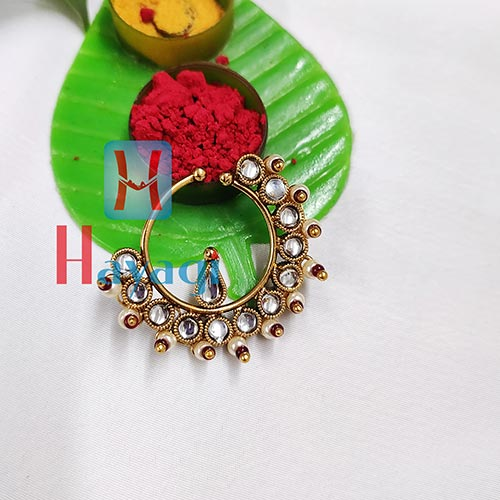 Rajasthani White Studed Nose Ring (Non Pierced)_Hayagi