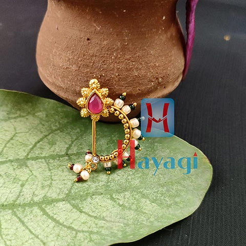Nath Golden Finish Fancy Pearl Nath For Women_Hayagi(Pune)