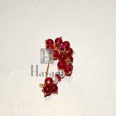 Maroon Pearl Nath (Non Pierced) Traditional Nathni Nose Ring Online-Hayagi