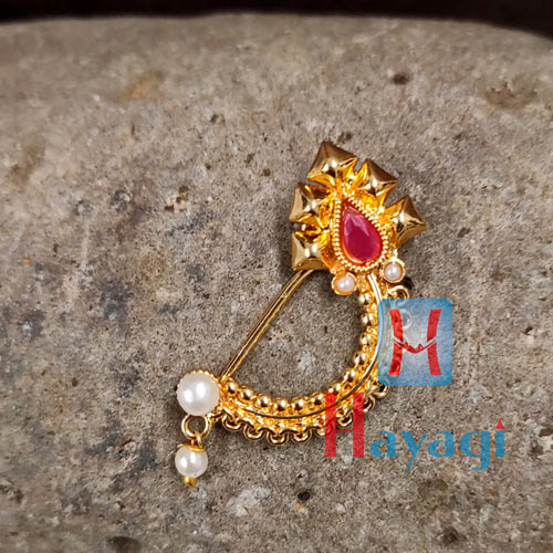 Golden Nath(Press)Ruby Maroon Stones Trendy Design_Hayagi(Pune)