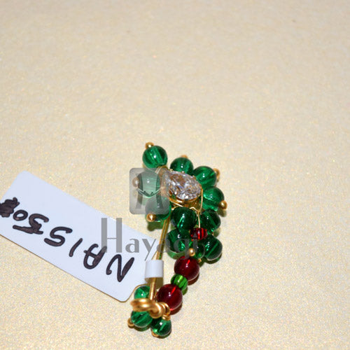 Trendy Green Pearl Nath (Non Pierced) Traditional Nathni Nose Ring Online-Hayagi
