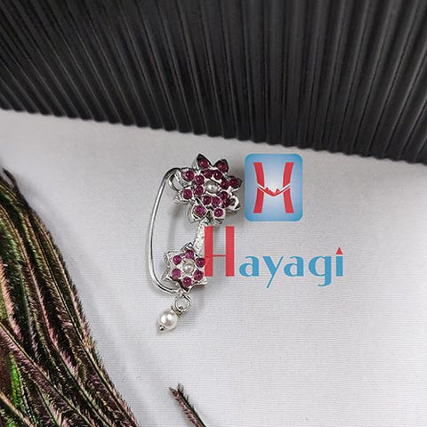 Oxidized Nath (Press) Maroon Stones Sun Flower Design _Hayagi(Pune)