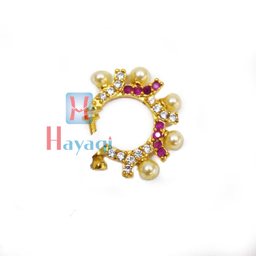 Nose Ring Round Shape With Pink & White Stones (Non Pierced)-Hayagi