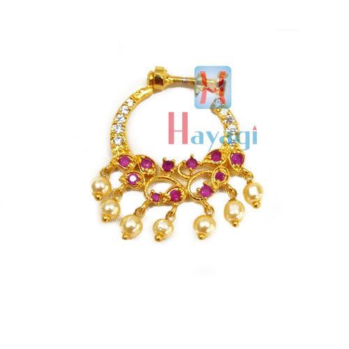 Nose Ring Round Shape With Pink Stone Petal Design (Non Pierced)-Hayagi