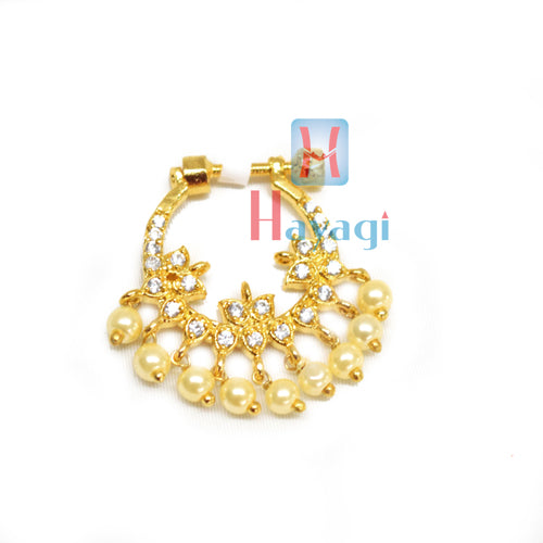 Nose Ring Round Shape With White Stone Petal Design(NonPierced)-Hayagi