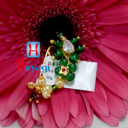 Nath White Pearl Green (Non Pierced) Traditional Online_Hayagi(Pune)