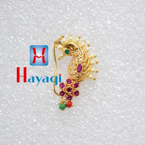 Nath (Piercing),With Pink Stone Peacock Design_Hayagi(Pune)