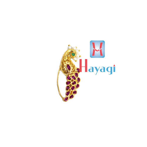 Nath (Non Piercing),With Pink Stone Feather Design -Hayagi
