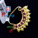Banu Nath Gold Plated (Non Pierced) Nath clip, Nose Ring_Hayagi