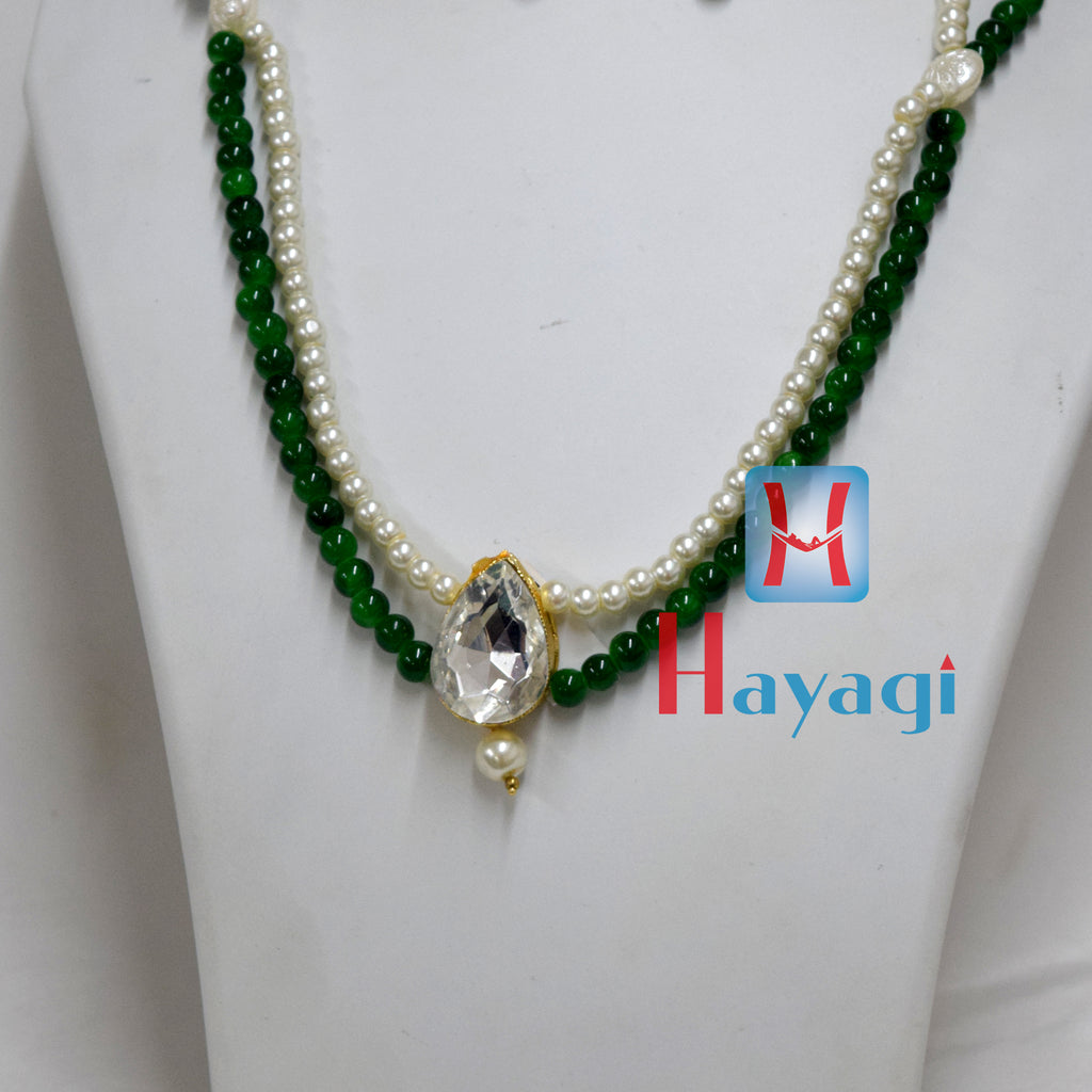 Green Beads White Pearl Set Fashionable necklace Buy Online - Hayagi