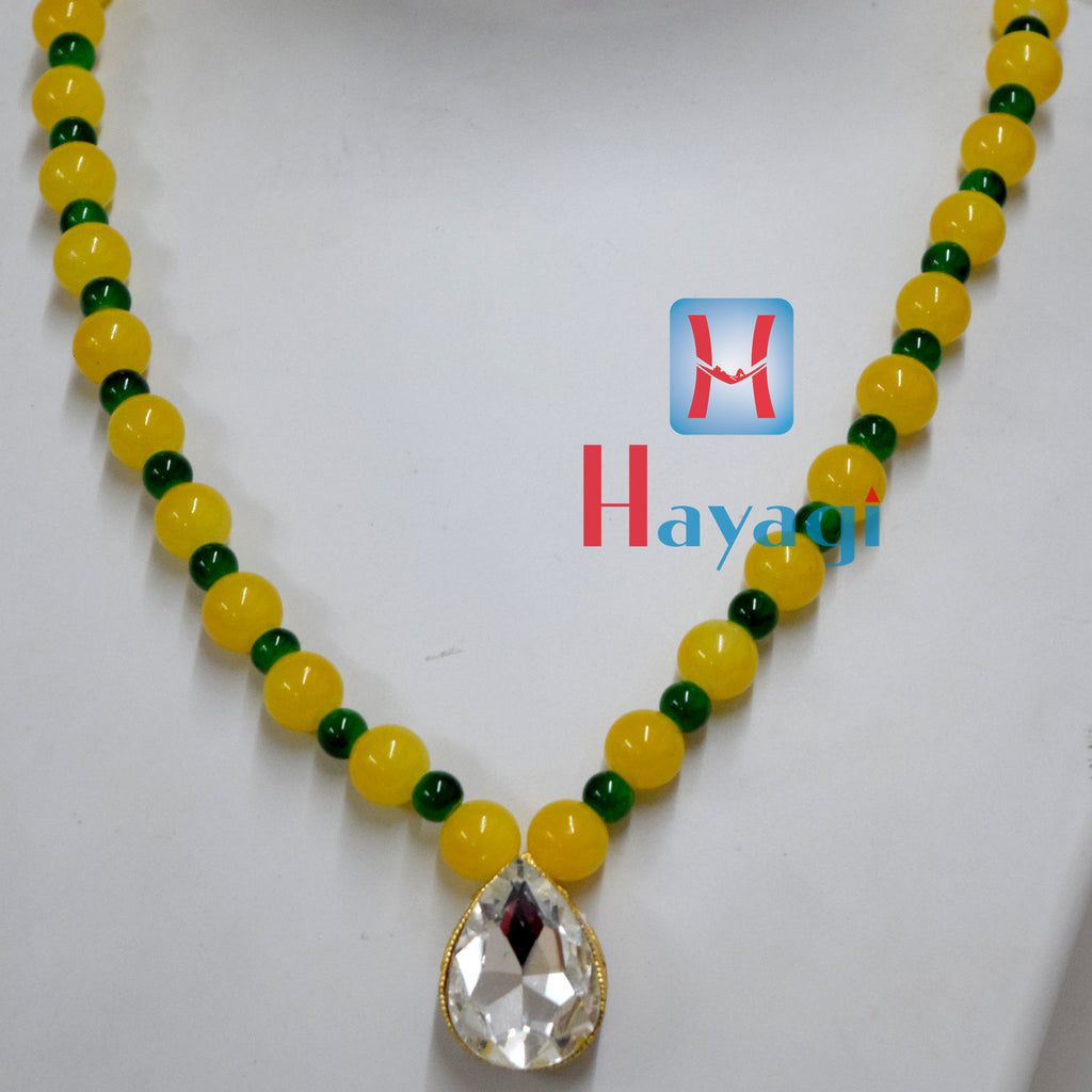 Yellow Green Beads Set Fashionable necklace Buy Online - Hayagi