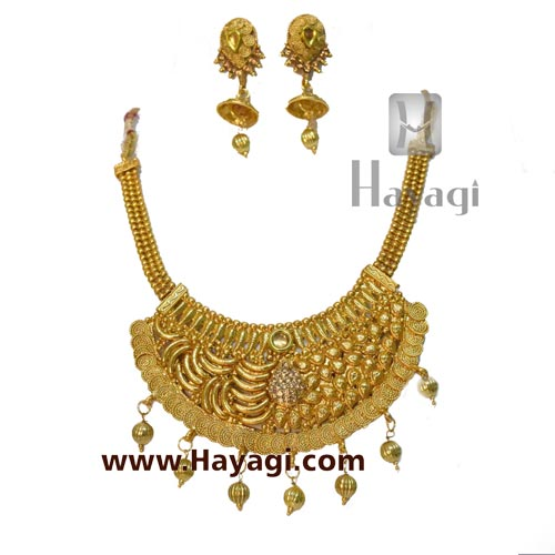 Antique Bridal Necklace Set Online, Heavy Necklace - Hayagi