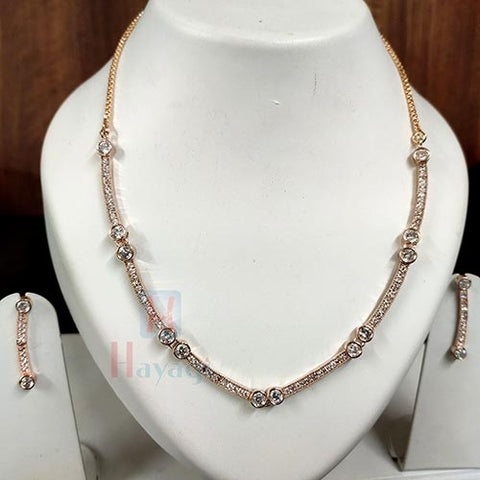 American Diamond Stone Short Necklace Rose Gold Finish _Hayagi (Pune)