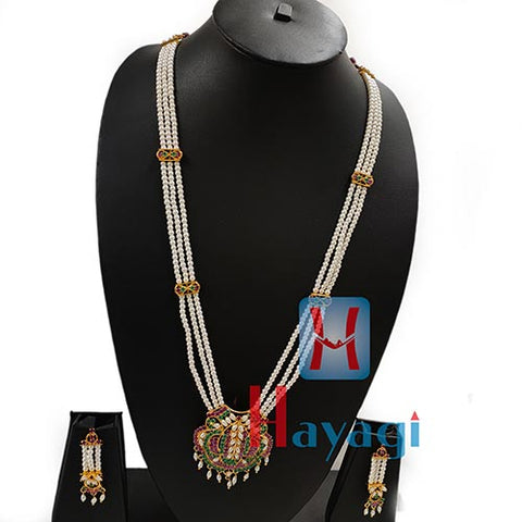 Long Pearl Ruby Emerald Stone Necklace Set Online India-Hayagi