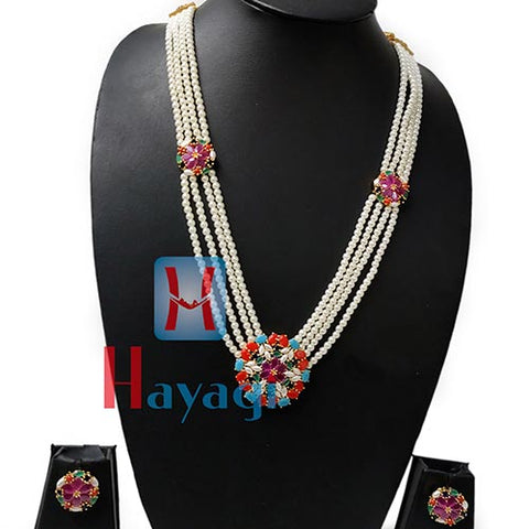 Long Pearl Multicolor Stone Necklace Set Online India-Hayagi