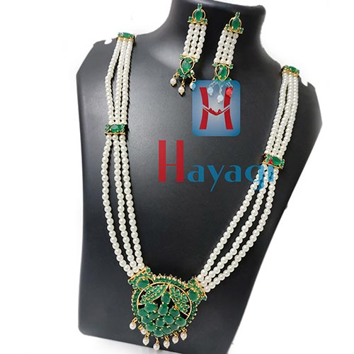 Pearl Long Emerald Stone Necklace Set Online India-Hayagi
