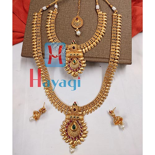 Bridal Necklace Set in Antique Finish Kohiri Design_Hayagi(Pune)