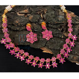 Ruby With AD Stones Necklace-Hayagi(Pune)
