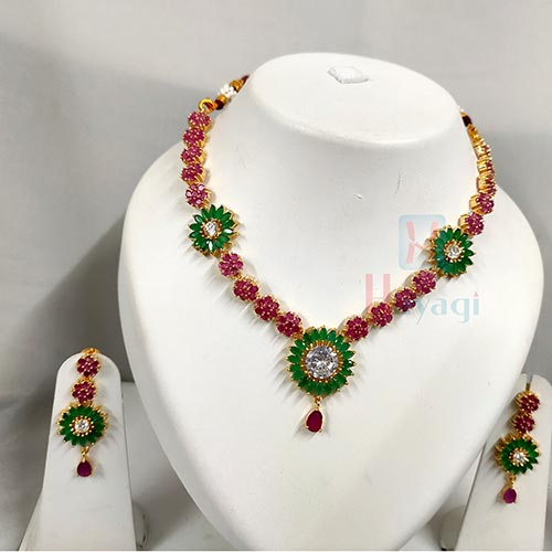 Multicolour Stones Decorated AD Necklace Set-Hayagi(Pune)