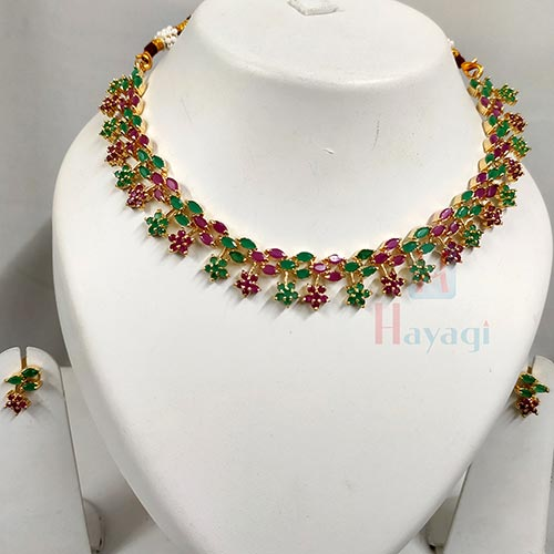 Stunning Multistones Necklace With Earrings -Hayagi(Pune)